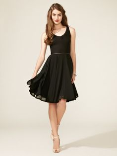 Z Spoke Ribbed Jersey Dress  Finely ribbed bodice, tonal piping at bodice, contrast chiffon flared skirt