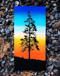 Image may contain: sky, outdoor and nature - Painting Ideas Fall Canvas Painting, Cute Canvas Paintings, Small Canvas Art, Mini Canvas Art, Autumn Painting, Sunset Painting Easy, Canvas Painting Designs, Poster Color Painting, Oil Pastel Art