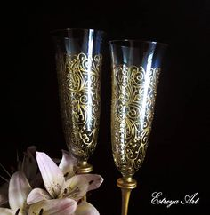 Golden champagne flutes hand painted wedding glasses painted