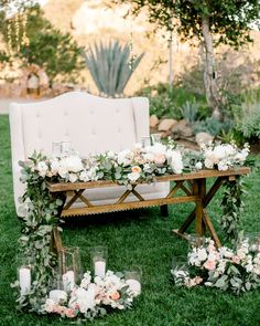 Floral runners of fresh eucalyptus and lush blooms dress up the head table wonderfully! Wedding Table Decorations, Garland Wedding, Decoration Table, Wedding Table Arrangements, Head Table Decor, Head Tables, Wedding Centerpieces, Floral Arrangements, Floral Wedding