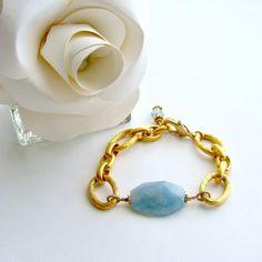 Aquamarine Nugget Heavy Gold Vermeil Links Bracelet – Brynn Bracelet | Karen Sugarman Designs
