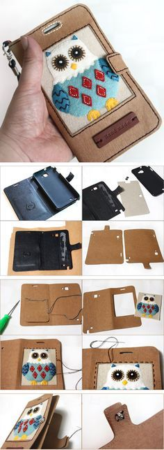 DIY Phone Wallet Case Tutorial How to make Pretty Mobile Phone Case ~ Sewing projects for beginners. Step by step sew tutorial. How to sew illustration. Diy Wallet Phone Case, Cell Phone Pouch, Bag Patterns To Sew, Sewing Patterns, Sew Pattern, Crochet Patterns, Capas Kindle, Wallet Tutorial, Diy Tutorial
