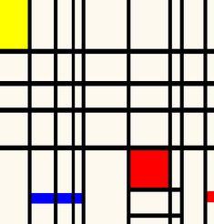 Geometrische compositie. Deze compositie is geometrisch, omdat de vormen gemakkelijk getekent kunnen worden met een liniaal. De afbeelding bevat veel vierkanten en rechthoeken.
