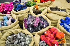 Ullcentrum had big burlap sacks full of beautiful wool skeins.