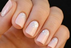 glitter light peach nails #alliwant