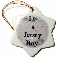 3dRose im a jersey boy, black lettering on a gray background, Snowflake Ornament, Porcelain, 3-inch