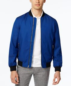 Finish your look in style with this water-resistant zip-front bomber jacket from…