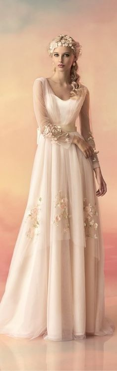 Blush wedding dress | blush wedding | plush pink | eldor tina jewelry | Papilio 2015