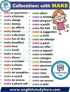 English Collocations – MAKE – Learn english English Learning Spoken, Teaching English Grammar, English Writing Skills, English Language Learning, English Verbs, English Phrases, Learn English Words, English Study, Grammar And Vocabulary