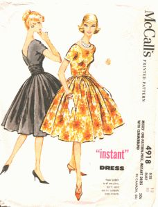 "McCalls 4918 - Now replicated in modern sizes as the ""1958 Party Dress Pattern"" here: http://sensibility.com/blog/patterns/ladies-1958-party-dress-pattern-pre-order-now/"