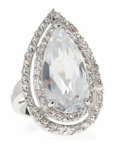 Pear+&+Pave+Cubic+Zirconia+Ring+by+CZ+by+Kenneth+Jay+Lane+at+Neiman+Marcus+Last+Call.
