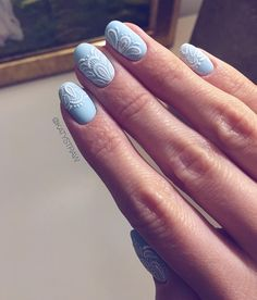 Baby blue matte gel manicure with FREE HAND PAINTED white lace I have to try it with some nice nude colour as well. This could also be a great idea for wedding...? #weddingnailsinspiration #wedding #weddingnails #nailsinsheffield #nailartaddict #freehandnailart #freehand #nailart #gelmanicure #nailinspiration #babyblue #matte #lace #whitelace #sheffieldnails