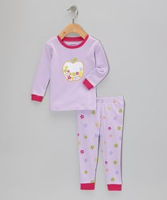 Look what I found on #zulily! Lavender Apple Flower Pajama Set - Infant, Toddler & Kids by Leveret #zulilyfinds