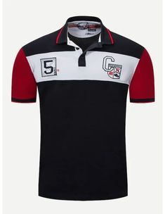 Men Embroidery Cut And Sew Panel Polo Shirt Mens Polo T Shirts, Polo Tees, Polo Shirt Design, Fashion News, Mens Fashion, Cotton Style, Lacoste, Shirt Designs, Polo Ralph Lauren