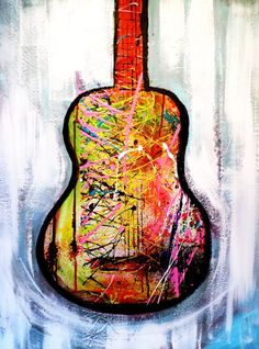guitar painting Original Acrylic Abstract painting ABSTRACT PAINTINGS Modern Art for sale LARGE modern art Freedom