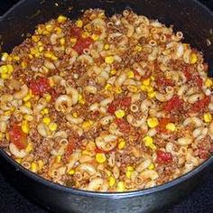 hillbilly stew!!!!!!!!!!! mmmm mmmm mmmm!!!! could probably just use a can of spaghetti sauce, beef, stewed tomatoes, and frozen corn and call it a day!! (and pasta)