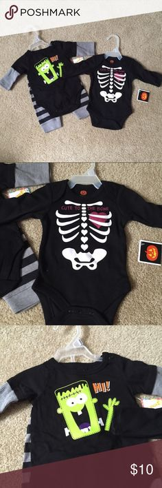 NEW! Newborn Halloween Bundle- 3 pieces total New With Tags! Newborn Halloween Bundle- 3 pieces total. Includes a skeleton onesie and a Frankenstein onesie with black and gray striped leggings. FMo/092117RL Matching Sets