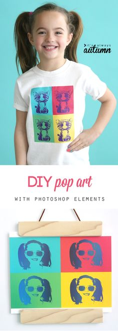 DIY pop art tee with Photoshop Elements - It's Always Autumn Diy Sewing Projects, Projects For Kids, Photo Projects, Sewing Ideas, Crafty Kids, Crafty Craft, Crafting, Photo Craft, Diy Photo
