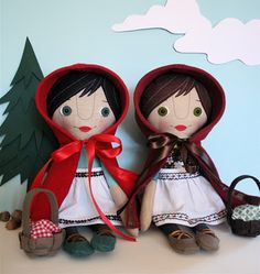 Pattern for Little Red Riding-hood and friend doll.