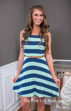 Rise Against Them All Stripe Belted Dress - The Pink Lily Boutique