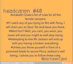 Percy Jackson and Annabeth Chase Headcanon Percy Jackson Head Canon, Percy Jackson Memes, Percy Jackson Books, Percy Jackson Fandom, Percabeth, Solangelo, Percy And Annabeth, Annabeth Chase, Oncle Rick