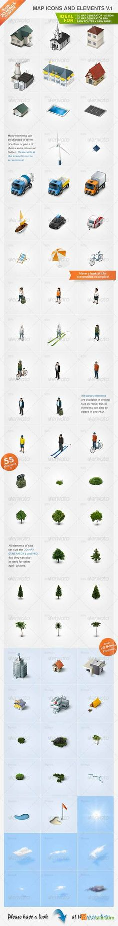 Graphicriver Map Icons and Elements - V.1 1328908