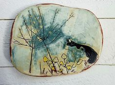 Suet Yi Yip, incised and glazed ceramic wall plate, ᔥ VeniceClayArtists.com