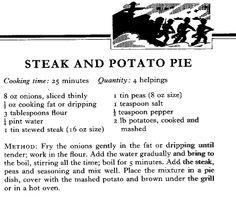 WWII Steak and Potato Pie Recipe