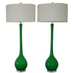 Pair of Vintage Emerald Murano Lamps by Archimede Seguso | From a unique collection of antique and modern table lamps at https://www.1stdibs.com/furniture/lighting/table-lamps/