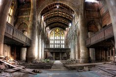 Sanctuary. A scene from Transformers 3 was filmed right here in this room. Abandoned City Methodist Church in Gary, Indiana. HDR by slworking2, via Flickr