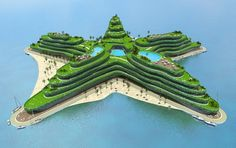 Floating City planned for 2015 completion in the Maldives. The green covered star-shape building symbolizes the Maldivian innovative route to conquer climate change. This will become a location for conventions about climate change, water management and sustainability. Architect Koen Olthuis--Waterstudio.NL. Developer Dutch Docklands--www.dutchdocklands.com