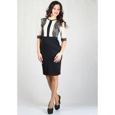 Елегантна рокля в бежово с дантела и черна пола с три-четвърт ръкав.
