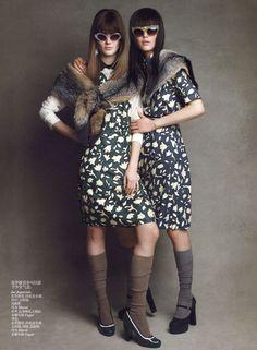 """""""Fall Romance"""" : Monika Jagaciak & Liu Wen : Vogue China July 2012 : Patrick Demarchelier"""