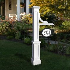 Woodhaven Address Sign Post - Address Plaques - Address Plaques and House Numbers - Outdoor Outdoor Lamp Posts, Outdoor Decor, Outdoor Spaces, Outdoor Living, Front Yard Landscaping, Front Yard Decor, House Numbers, Outdoor Projects, Wood Projects