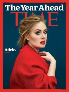 Adele with cat eye while wearing a red coatigan Pose on Time Magazine December 2015 cover shoot