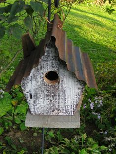Tin Roof Barn Wood Birdhouse by FloralSculptures on Etsy, $30.00