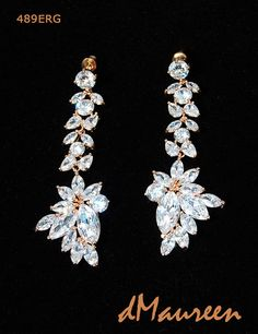 489ERG Long Marquis CZ Bridal Earrings. Big by dMaureenVastine