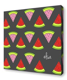 Look at this Charcoal Watermelon Personalized Canvas on #zulily today!