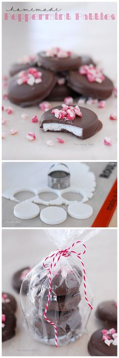 Homemade Peppermint Patties are so easy to make and they are so good! Homemade Peppermint Patties are so easy to make and they are so good! This classic treat is a perfect gift from the kitchen. Köstliche Desserts, Holiday Desserts, Holiday Baking, Holiday Treats, Holiday Recipes, Christmas Recipes, Holiday Gifts, Plated Desserts, Holiday Parties