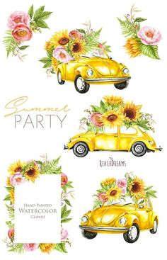 Watercolor Yellow VW Beetle summer clipart sunflowers