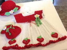 Crochet Baby Girl Toddler Strawberry Dress Hat Purse. by osuproud, $65.00