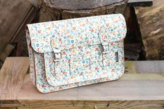 """Zatchel Classic White Leather Satchel Small Floral Pattern 13""""  £104.95"""