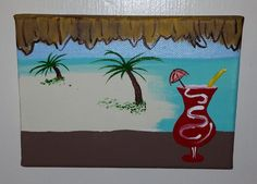 Tiki View Itty Bitty Painting 7 x 5 Includes by TheMessyMermaid, $15.00