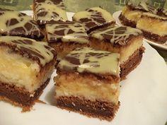Kókuszos-grízes krémes, sokkal kevesebb munka van vele, mint elsőre gondolnád! - www.kiskegyed.hu Hungarian Recipes, Hungarian Food, Tiramisu, Waffles, Muffin, Sandwiches, Bakery, Cheesecake, Food And Drink