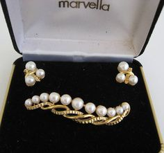 VINTAGE MARVELLA PEARL SWIRL PIN BROOCH EARRINGS GOLD GOLDTONE DEMI PARURE SET  #Marvella #Vintage