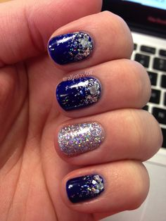 Pictures of royal blue nails for prom - Blue And Silver Nails, Royal Blue Nails, Burgundy Nails, Glitter Gradient Nails, Holographic Glitter, Blue Glitter, Prom Nails, Bling Nails, Gold Nails