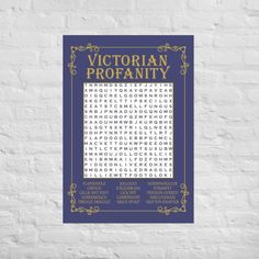 Word Search Poster Victorian Profanity Words Word Search image 0 Optimist Quotes, Daily Goals, Goals Planner, Purple Backgrounds, Old English, Poster Making, Text Color, Paper Weights, Giclee Print