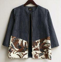 Johanna Batik Top   1000 Model Dress Batik, Batik Dress, Kimono Blouse, Kurta Designs, Blouse Designs, Blouse Batik Modern, Outer Batik, Batik Blazer, African Blouses