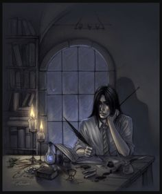 The young Severus pondering over a many quaint and curious volume of forgotten lore.