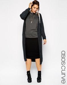Exclusivité ASOS CURVE - Long cardigan en maille torsadée